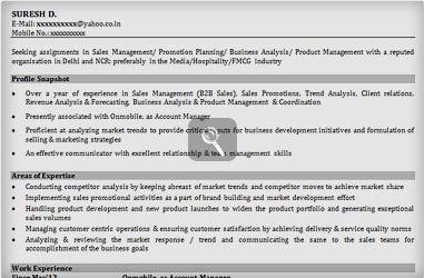 resume format for freshers of mba in finance