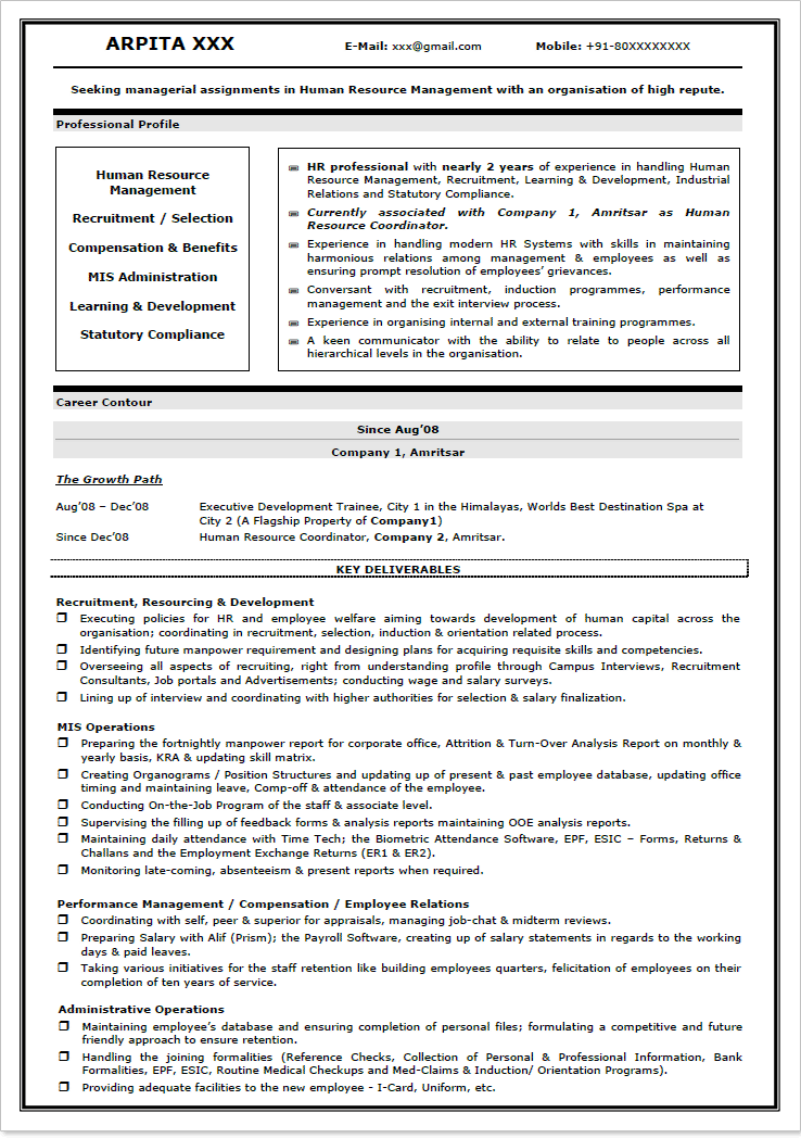 tags latest resume format for hr freshers resume format for fresher hr job resume format for