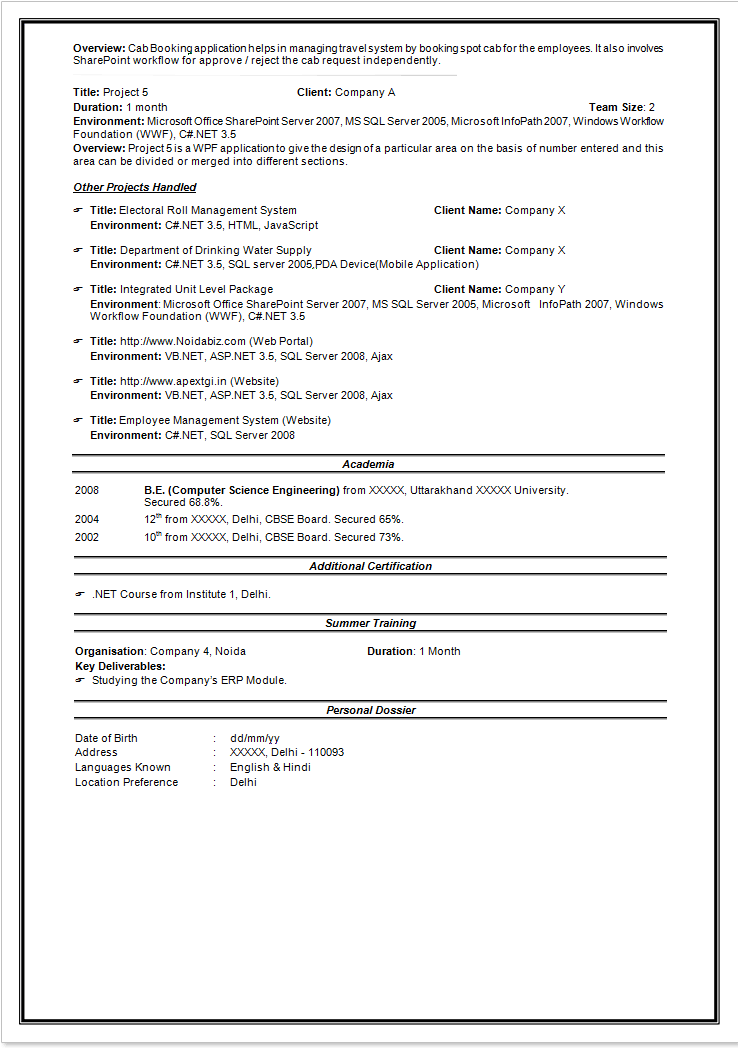 sle resume for information technology entry level