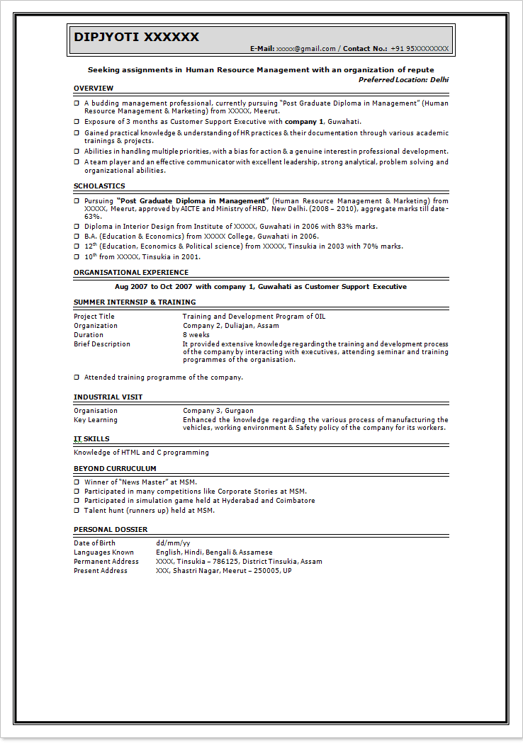 for format resume free freshers mca - Resume Sample For Freshers