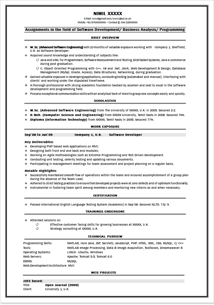 Software Tester Resume Sample For Freshers