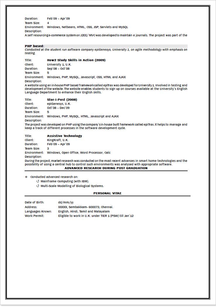 lewesmrcom mca fresher resume cv for mca students resume resume format for mca student