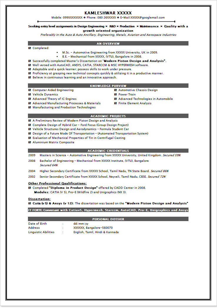B Sc Sample Resume BIT Journal