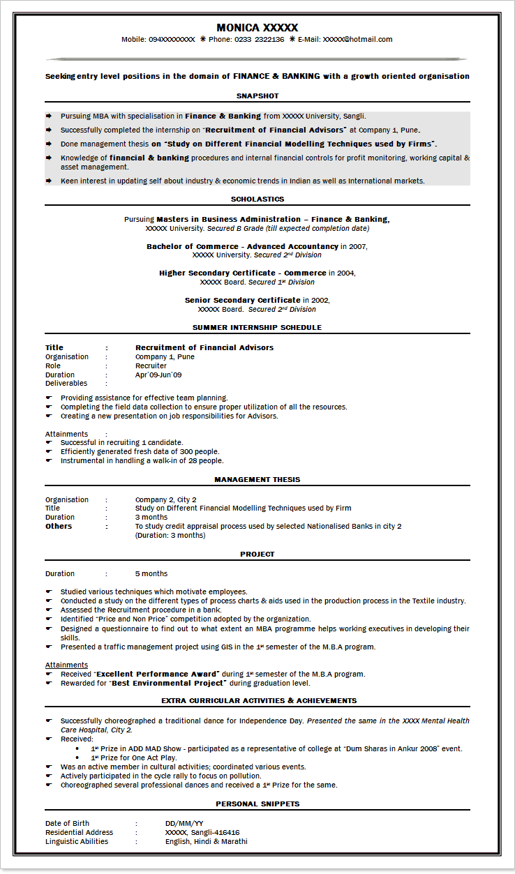 resumes for freshers mba
