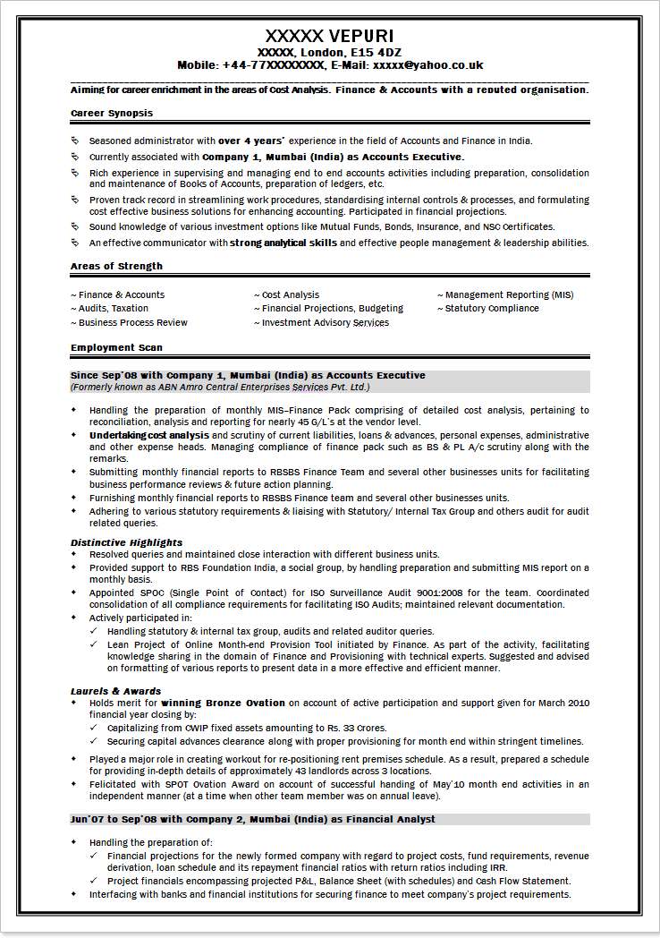 sample resume for freshers finance