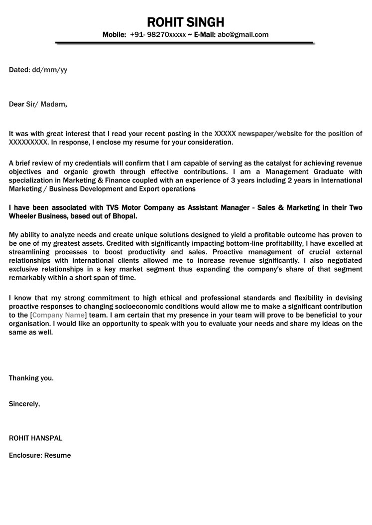 cover letter sample - resume cover letter format