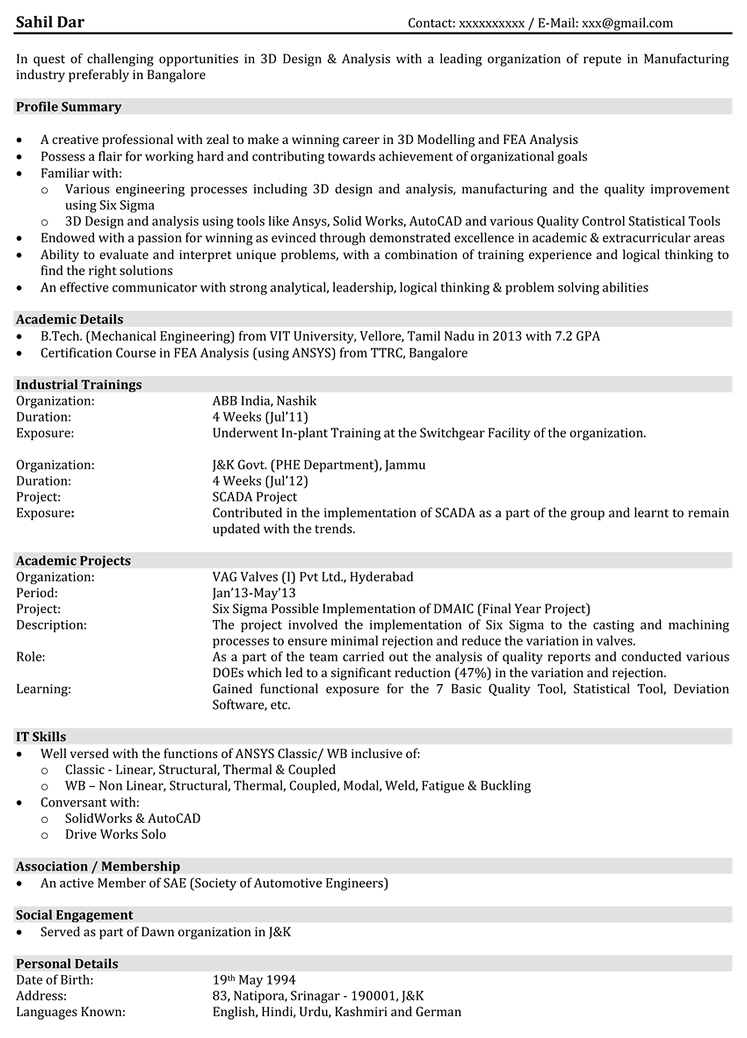 hr resume sample - hr sample resume