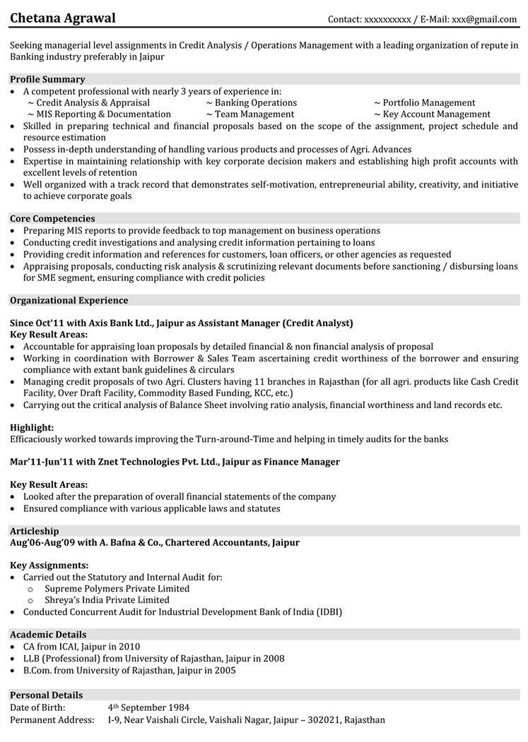 finance resume sample - banking resume sample