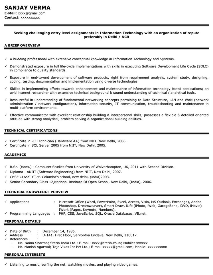 sample resume for automobile
