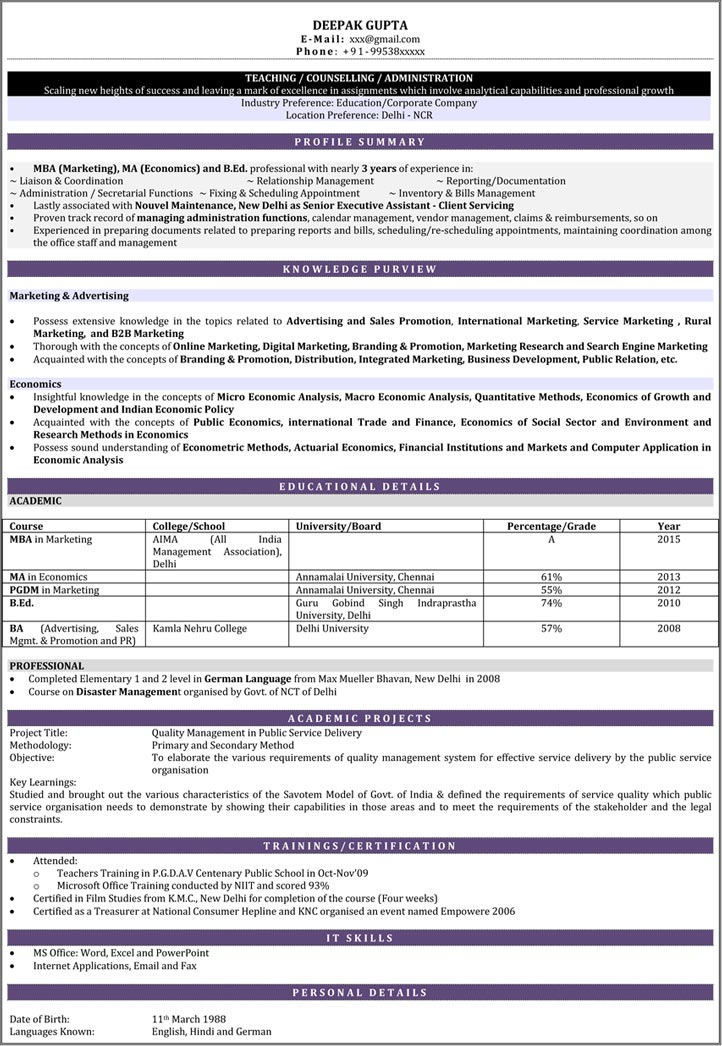 Indian Resume Samples For Teachers