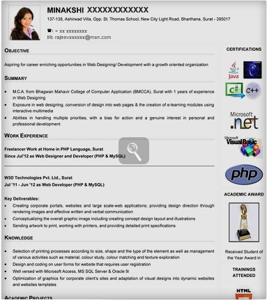 Mca Fresher Resume Formats