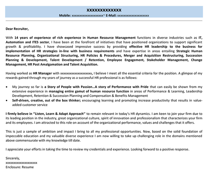Cover Letter For HR Cover Letter For Job Application Naukricom - Sample Hr Cover Letters