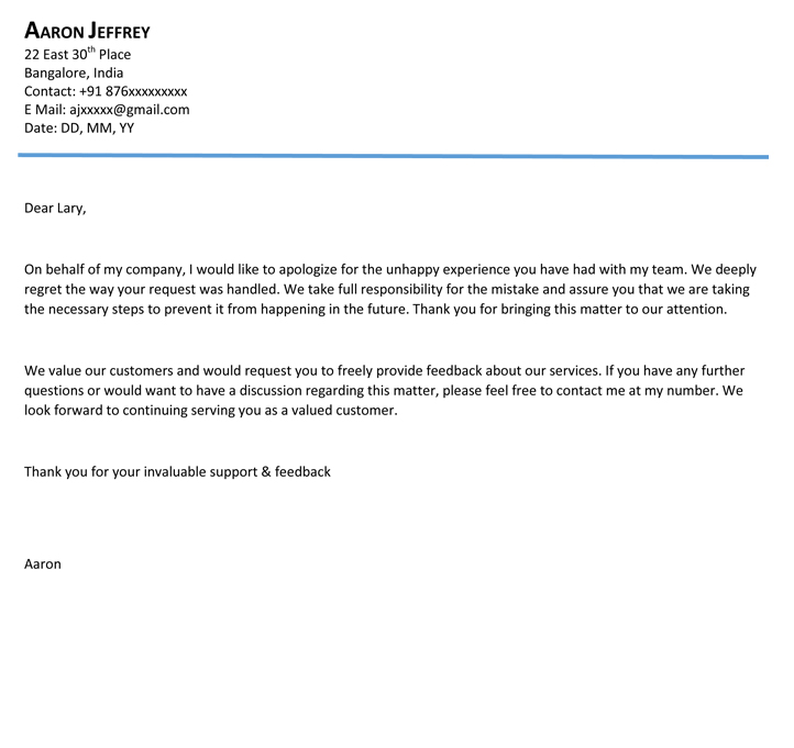 Apology Letter Apologize Letter Format – Example of Apology Letter to Customer