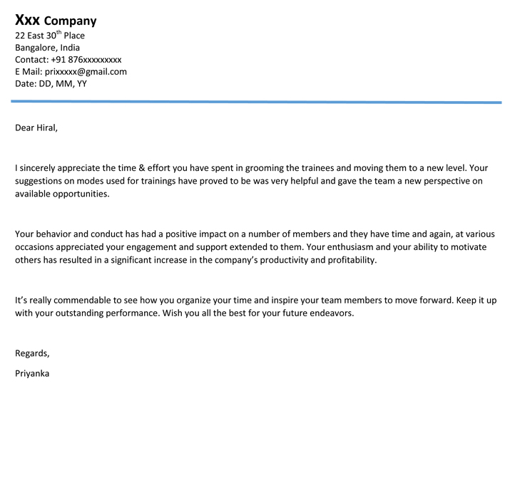 Appreciation Letter | Appreciation Email Format/ Sample - Naukri.Com