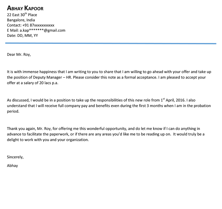 Acceptance Offer Letter  Apology Acceptance Letter Sample