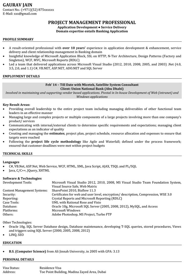 Software Engineer Resume Samples Sample Resume for Software
