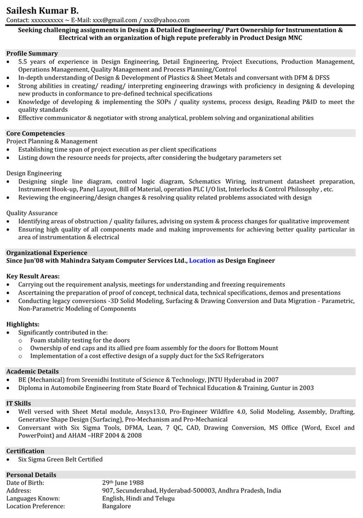 Automobile Resume Samples Mechanical Engineer Resume Format Naukri Com
