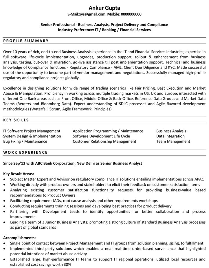 Sample Business Analysis Business Analyst Resume For Financial