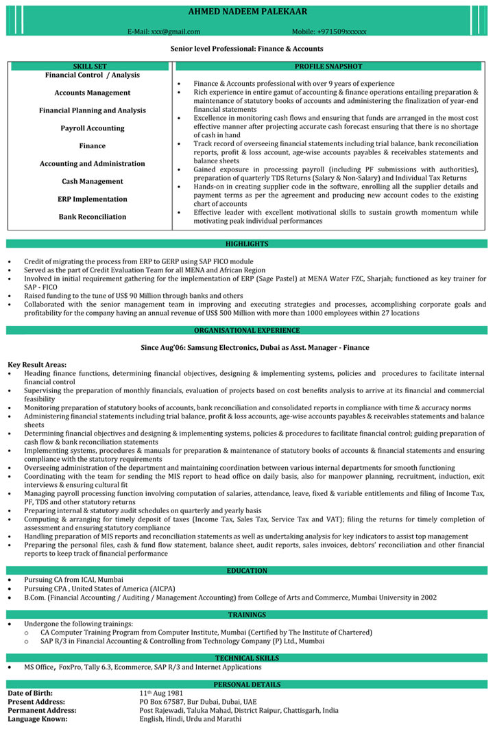 Ca Resume Samples  Chartered Accountant Resume Format  NaukriCom