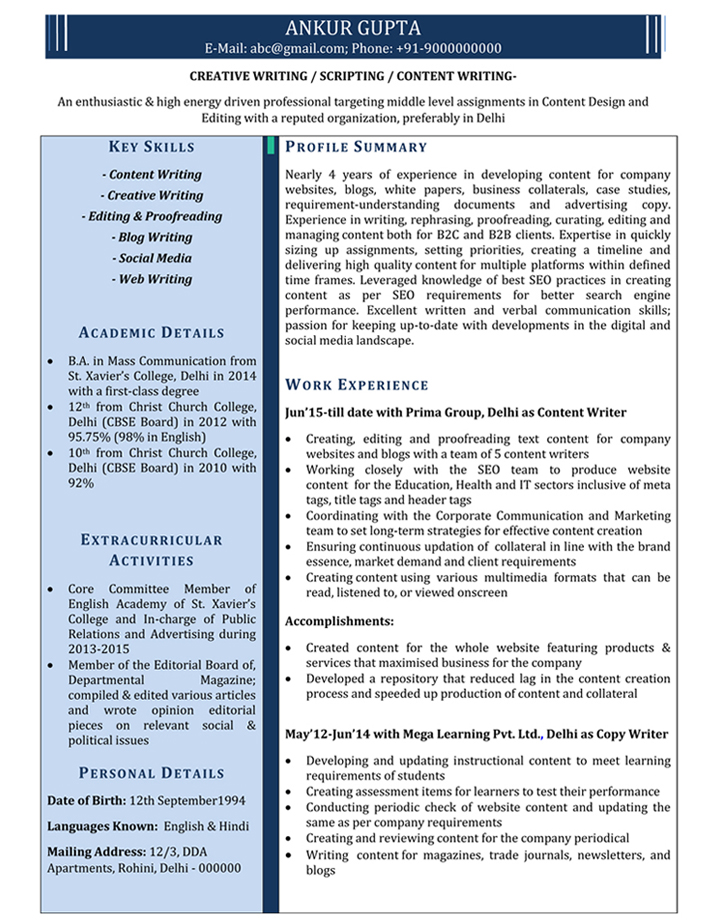Write A Resume | Content Writer Resume Samples Sample Resume For Content Writer