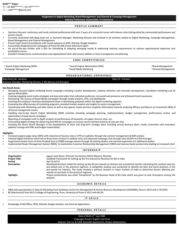 Download Digital Marketing Resume Samples In Digital Marketing Resume Sample