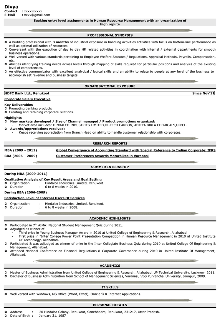Hr Resume Sample Hr Sample Resume Sample Resume For Hr