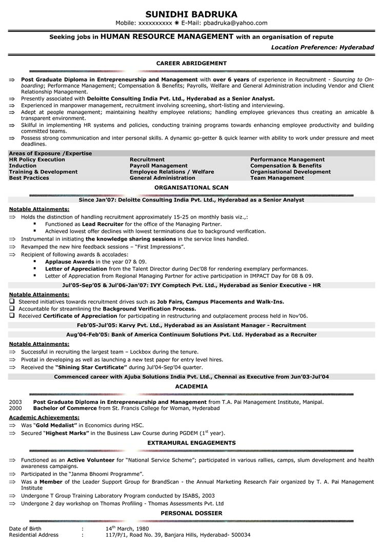 Resume Resume Sample Of Hr Fresher hr resume format sample cv samples naukri com download samples