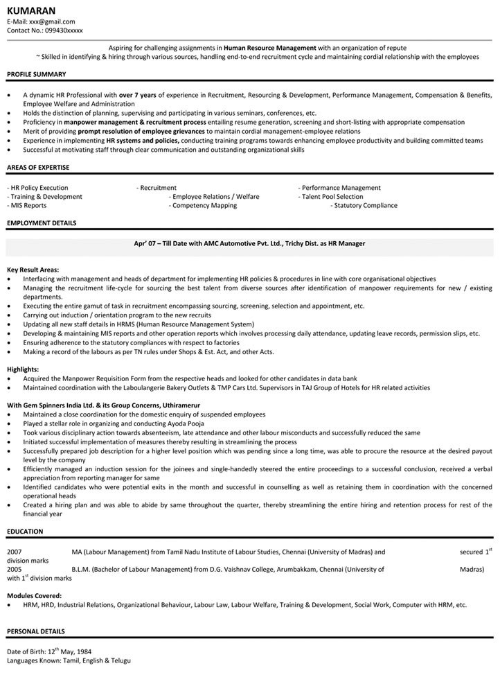 Good Download HR Manager Resume Samples On Hr Manager Resume