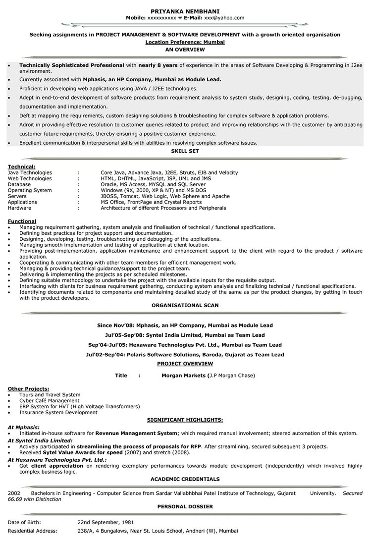 It Resume Format Resume Samples For It It Cv Format Naukri
