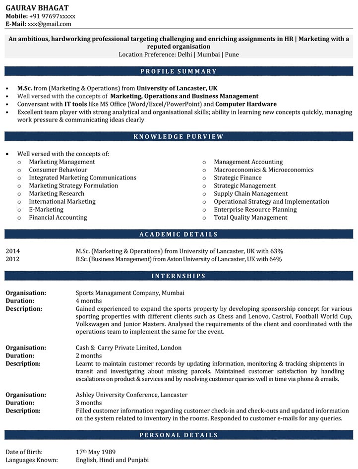 Internship Resume Samples  Resume For Internship  Cv For