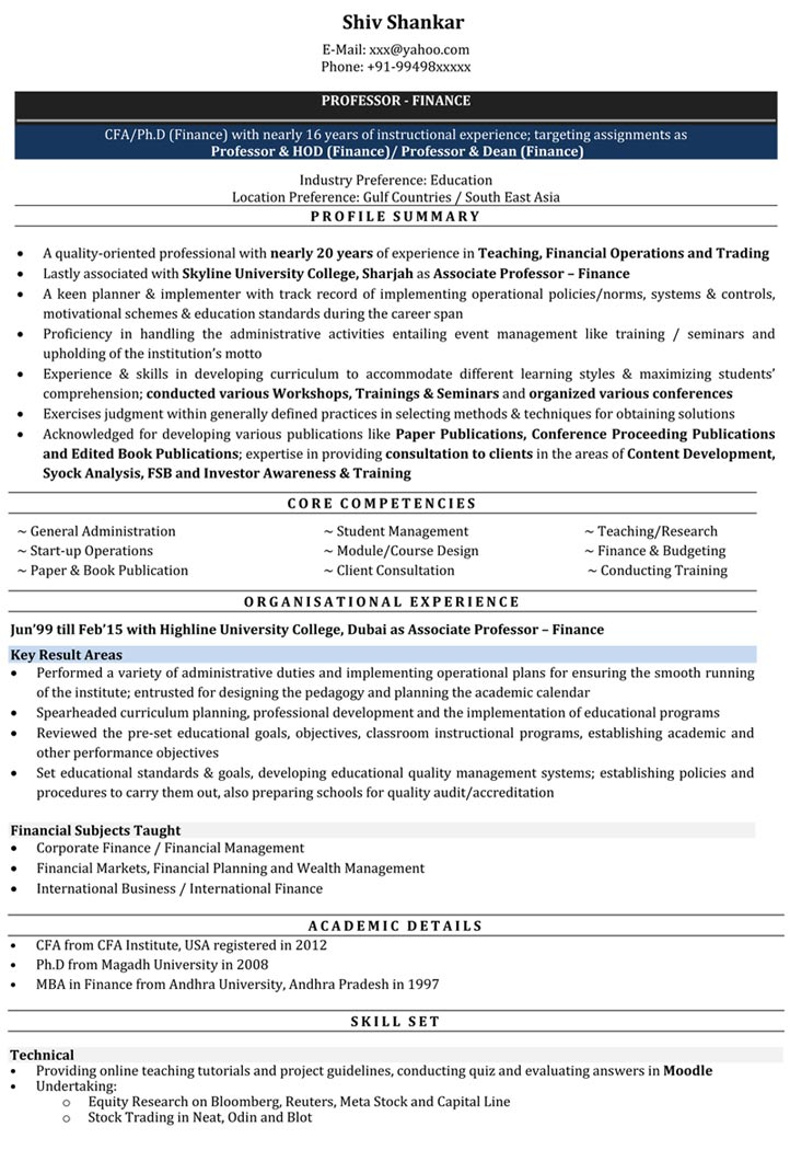 resume samples lecturer job