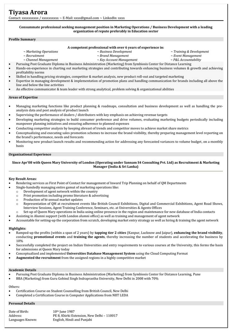 Marketing Resume Format Marketing Executive Resume Sample – Resume Format for Mca