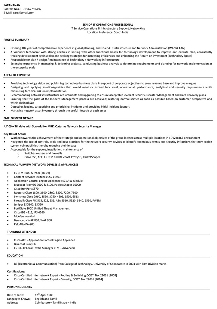 Network Engineer Resume Sample  Networking Resume  NaukriCom