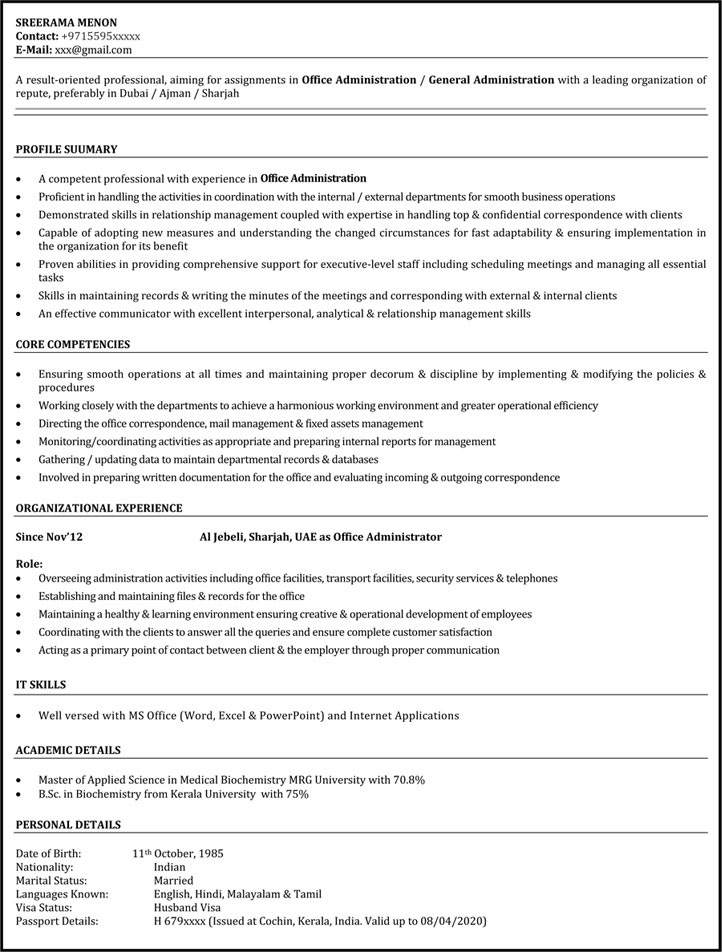 download office assistant resume samples - Sample Administrative Assistant Resume