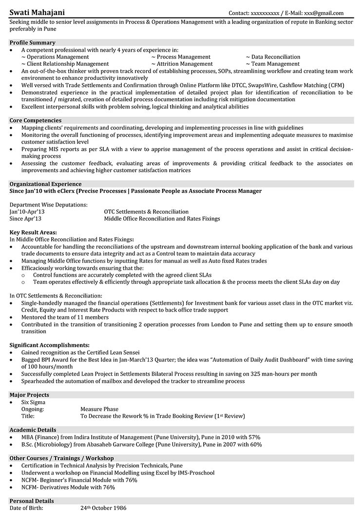 resume Resume For Banking Operations operations resume samples format for download samples