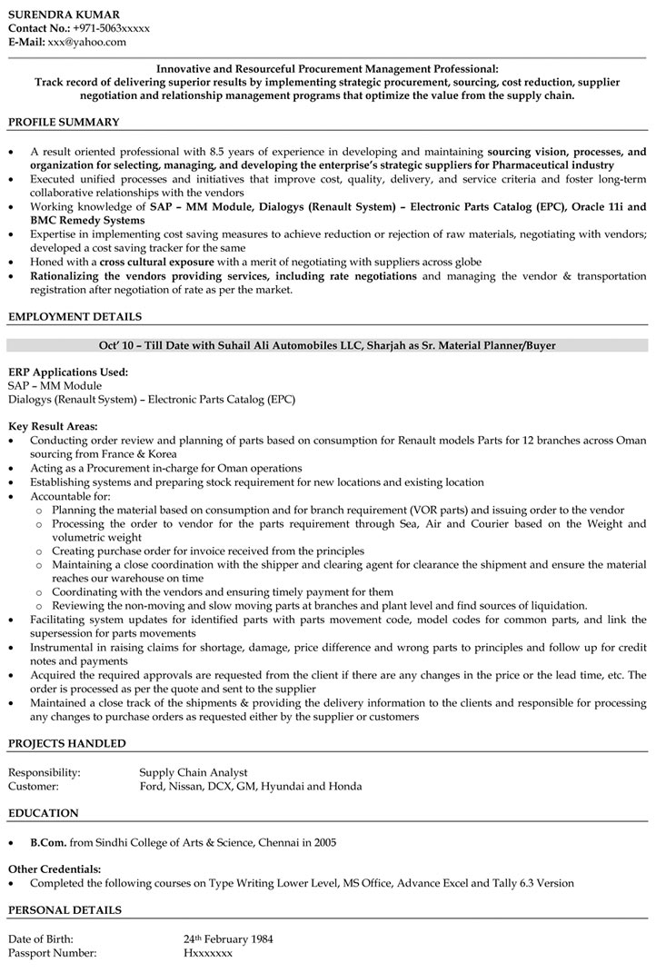Purchase Manager Resume Samples | Purchase Engineer Resume