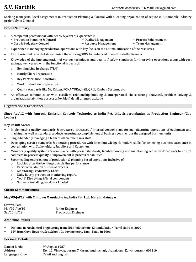 download production resume samples - Experienced Mechanical Engineer Sample Resume