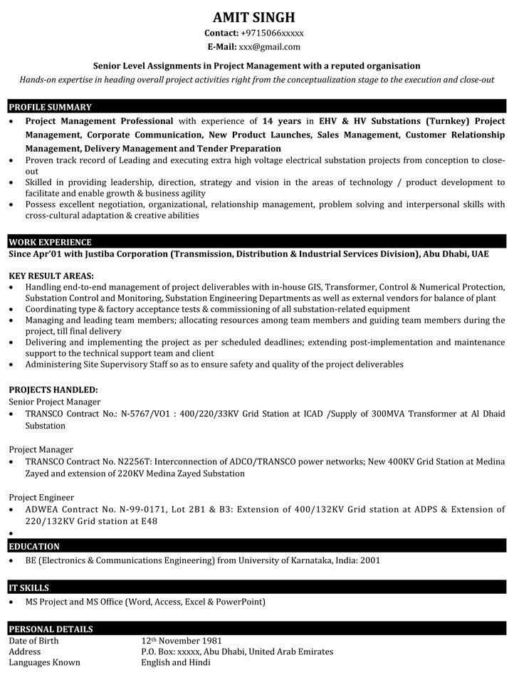 resume format for software project manager download samples free template construction word