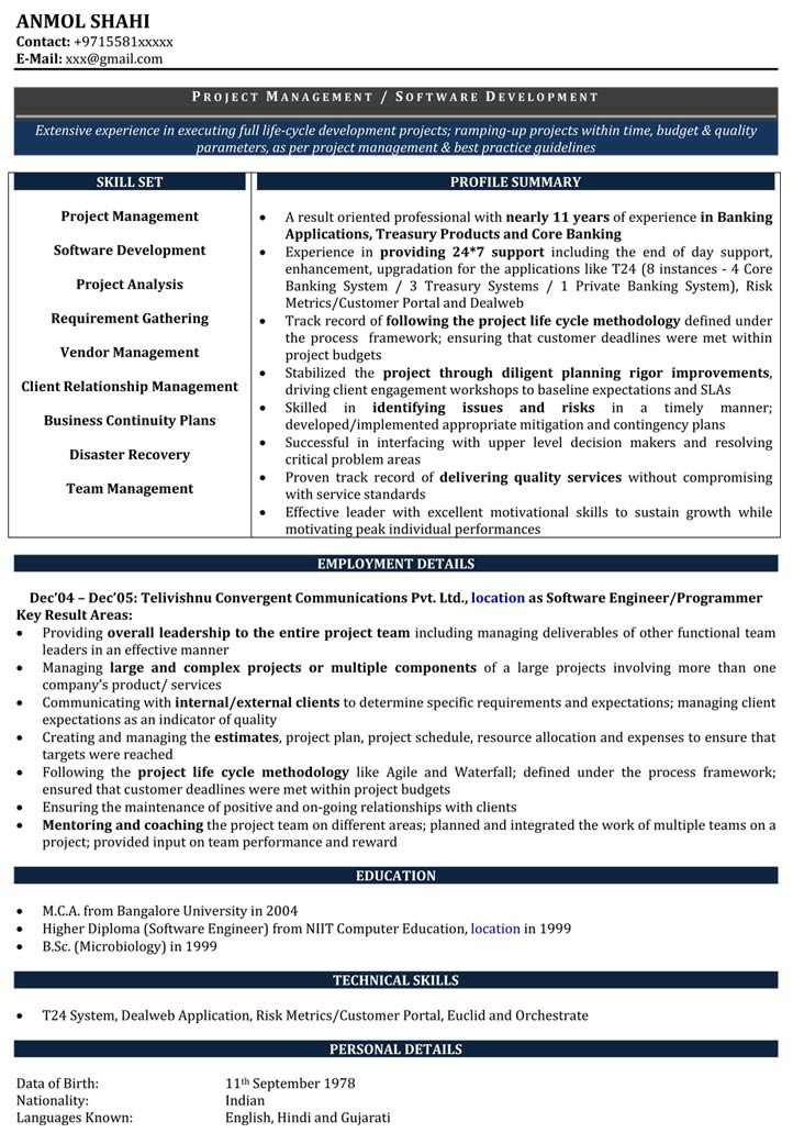 Software Developer Resume Samples | Sample Resume for Software ...