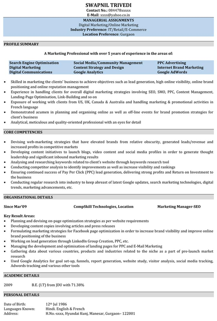 Seo Resume Samples  Sample Resume For Seo  NaukriCom