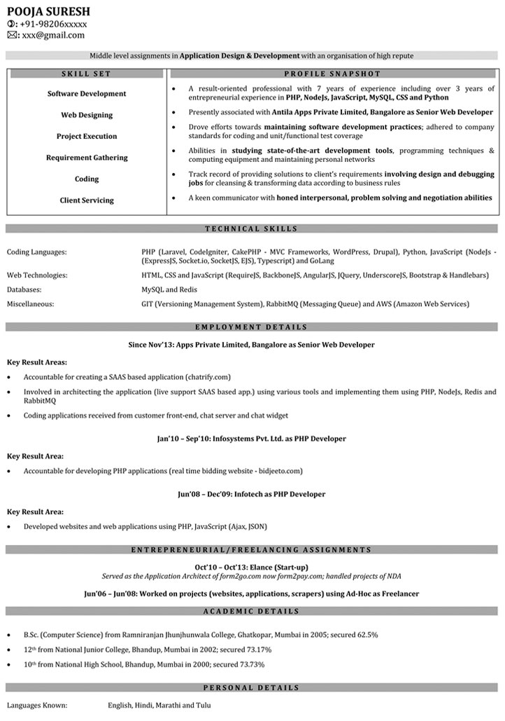 Web Developer Resume Samples  Sample Resume For Web Developer