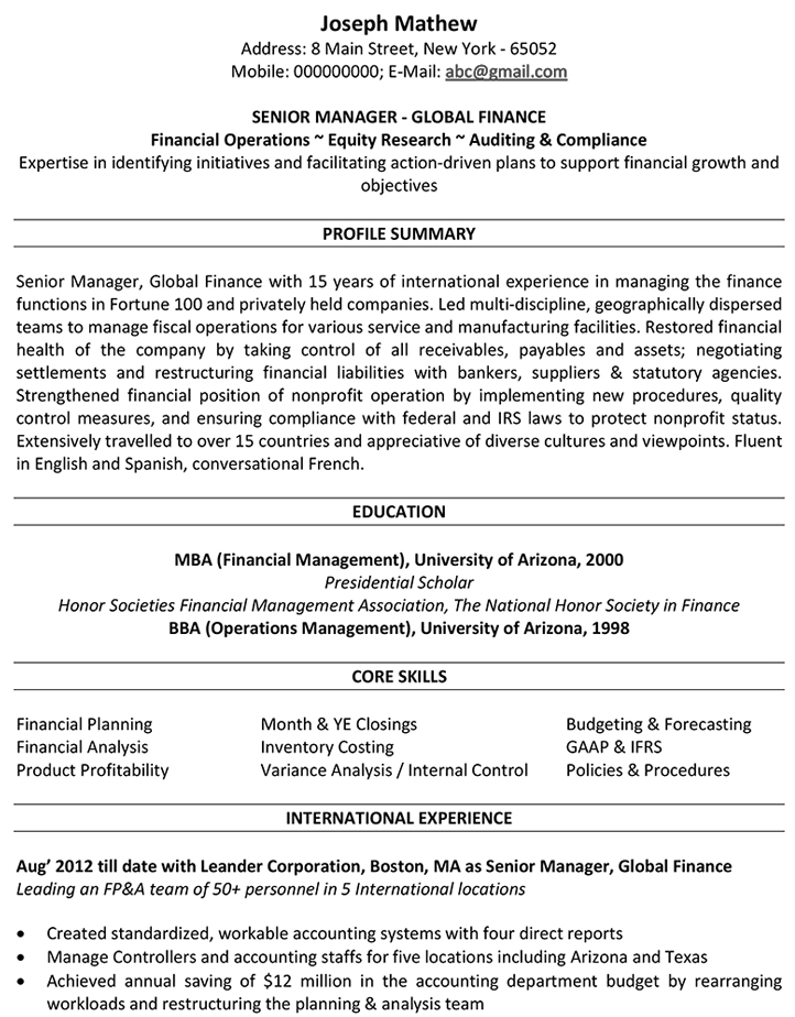 Accountant CV Format Resume Sample And Template