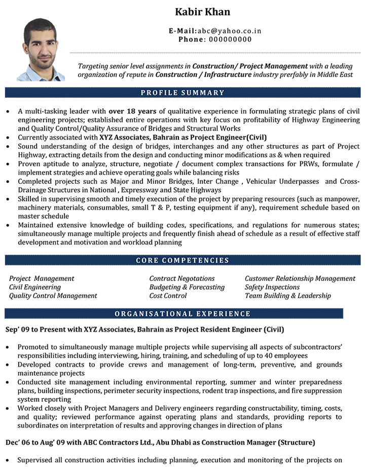 civil engineer cv format  u2013 civil engineer resume sample and template