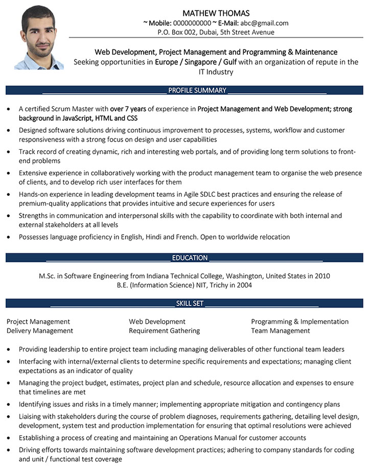 web developer cv format web developer resume sample and template