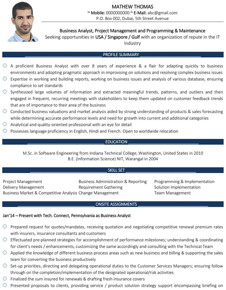 Business Analyst Cv Format Business Analyst Resume Sample And Template