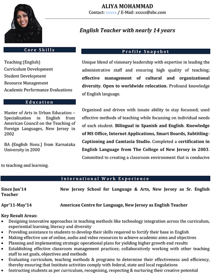 resume format for english teachers
