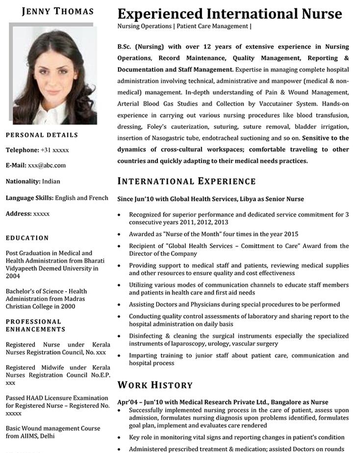 Nurse CV Samples  International Experience Resume