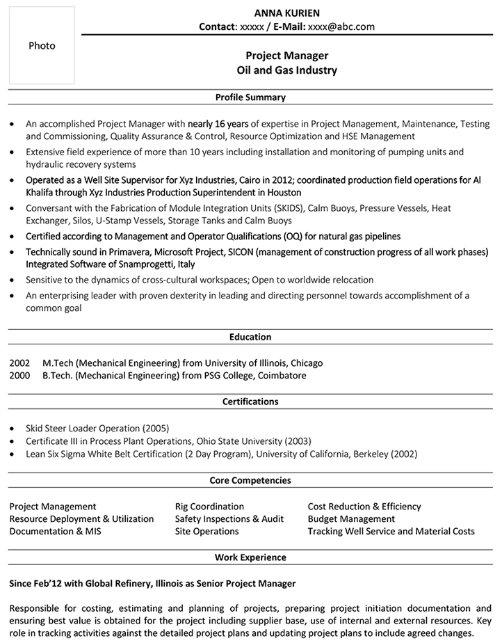 Project Manager Cv Format Project Manager Resume Sample And Template