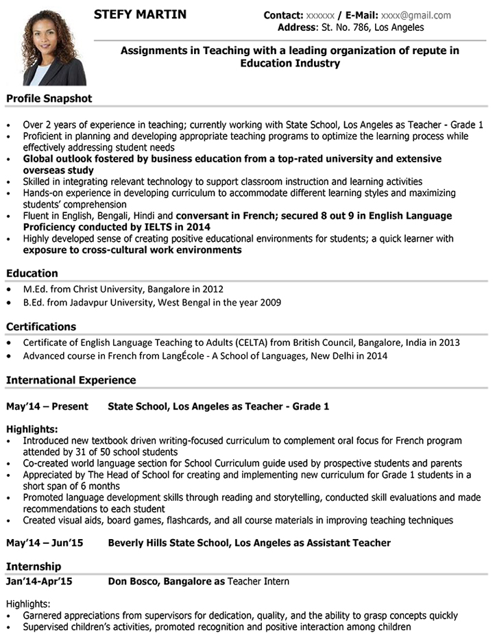 teacher cv samples - Resume Format For Teachers In India
