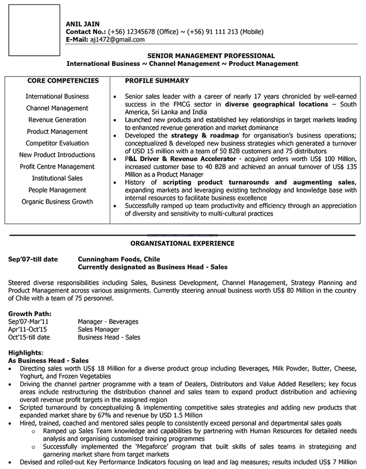 International Sales Cv Format – International Sales Resume Sample